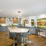 Industrial kitchen, transitional kitchen, quartzite island countertop,